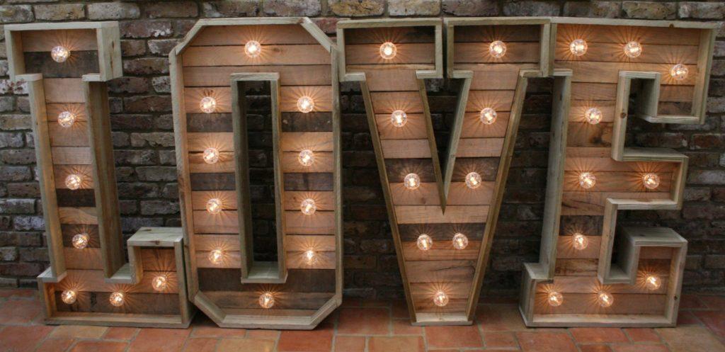 Rustic Light Up Love