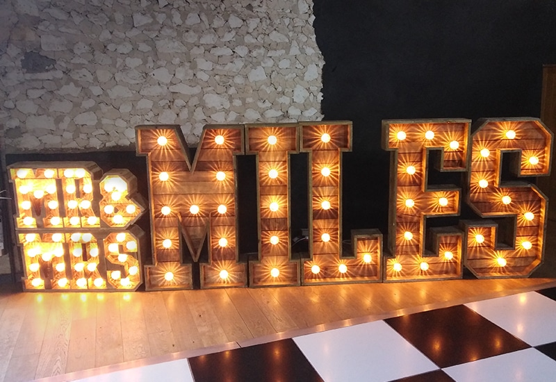 Rustic Light Up Surnames Hire Cambridgeshire