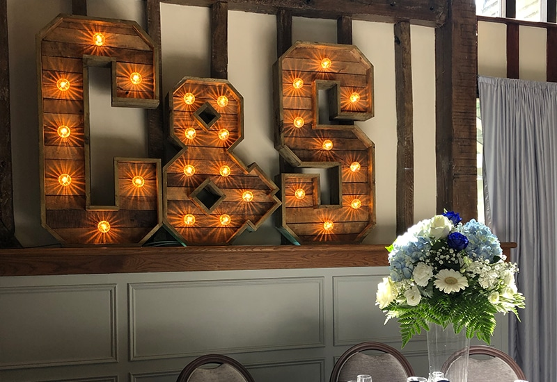 Rustic Light Up Initials Hire Herts