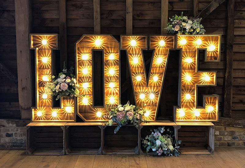 Rustic LOVE letter hire Hertfordshire