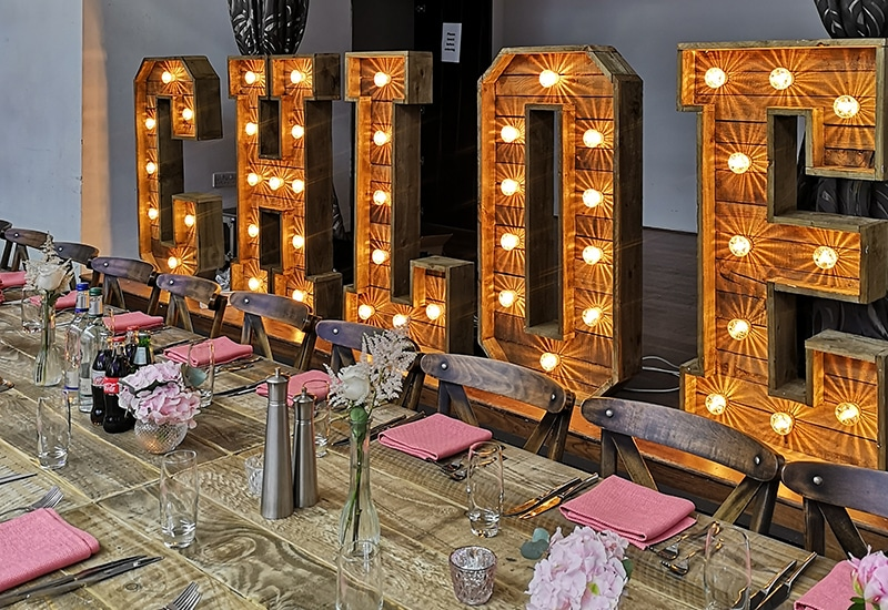 Rustic Light Up Names Hire in London