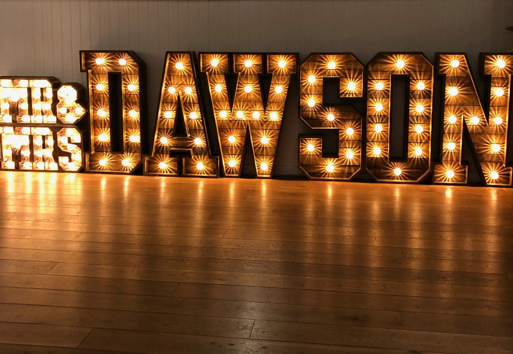 Light Up Rustic Surname with 2ft MR&MRS Toppers