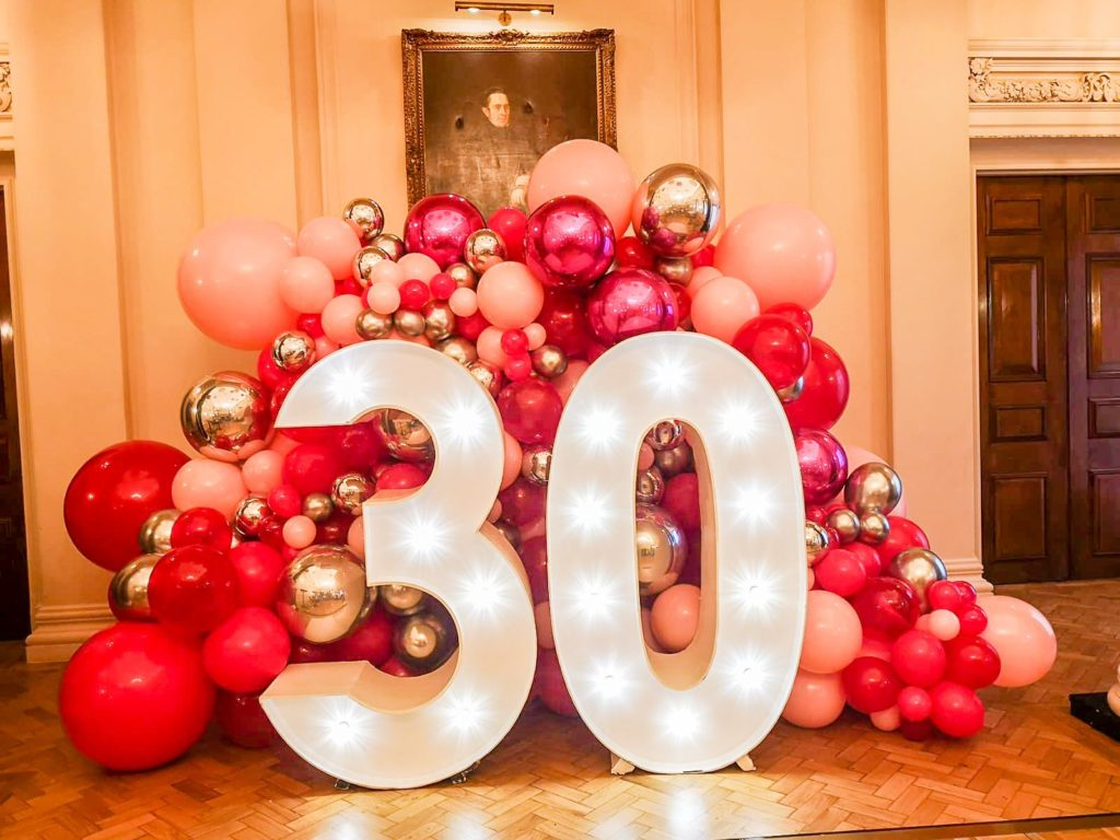 Light Up Number Hire With Balloons