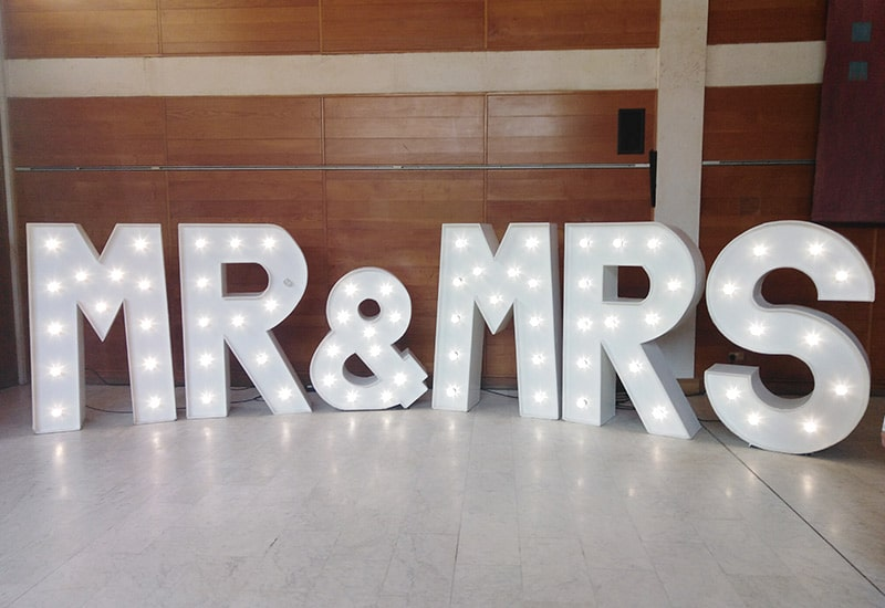 Light Up MR&MRS Letters Cambridge