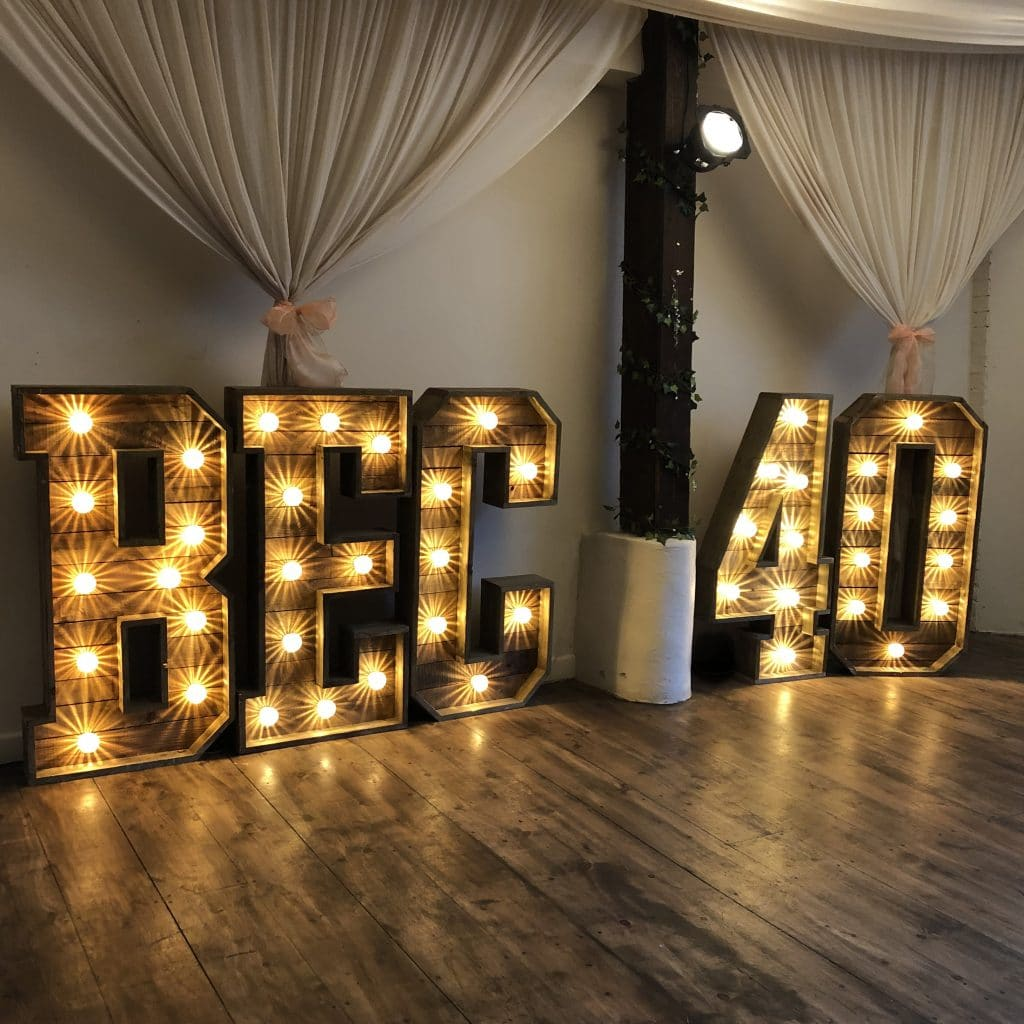Rustic Light Up Letters for Birthdays