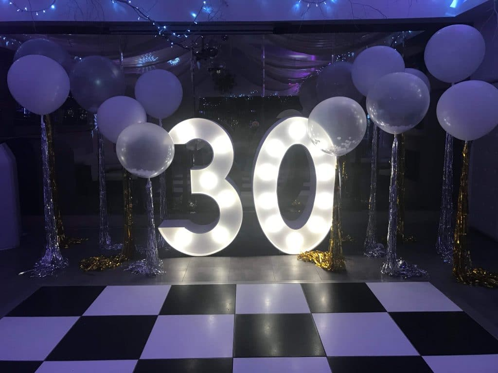 LED 30 Numbers with Balloons Essex