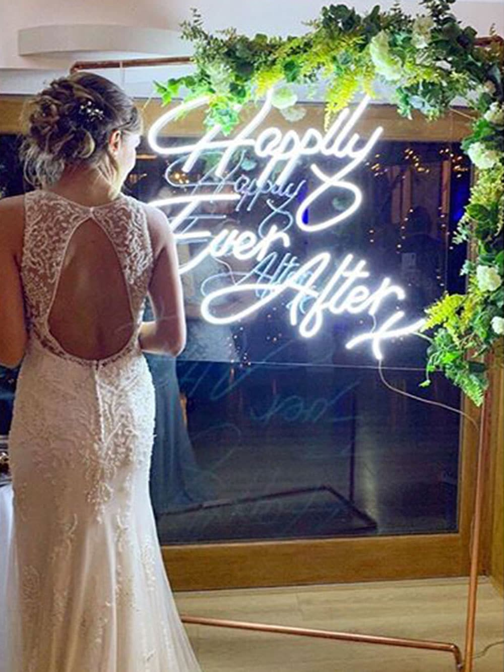 Happily Ever After Neon Sign Hire at Colville Hall