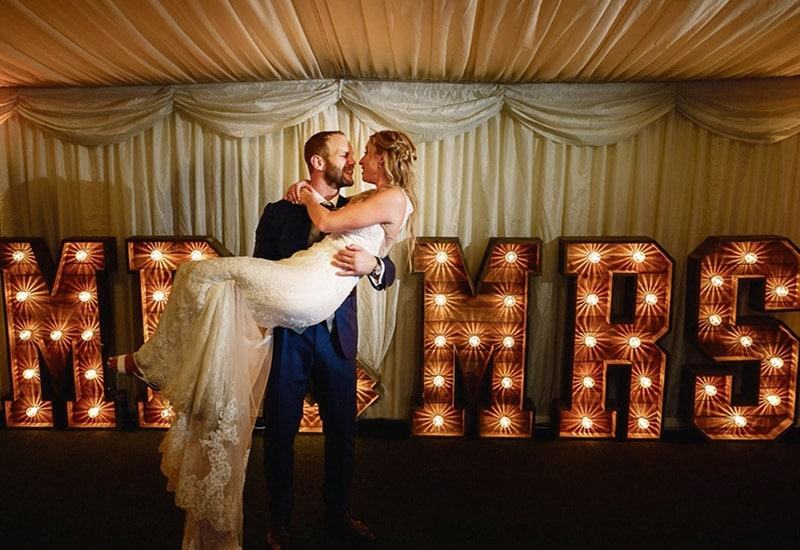 Rustic MR&MRS Letters at Brocket Hall