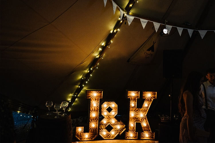 Rustic light up letters - Whimsical Wonderland Weddings