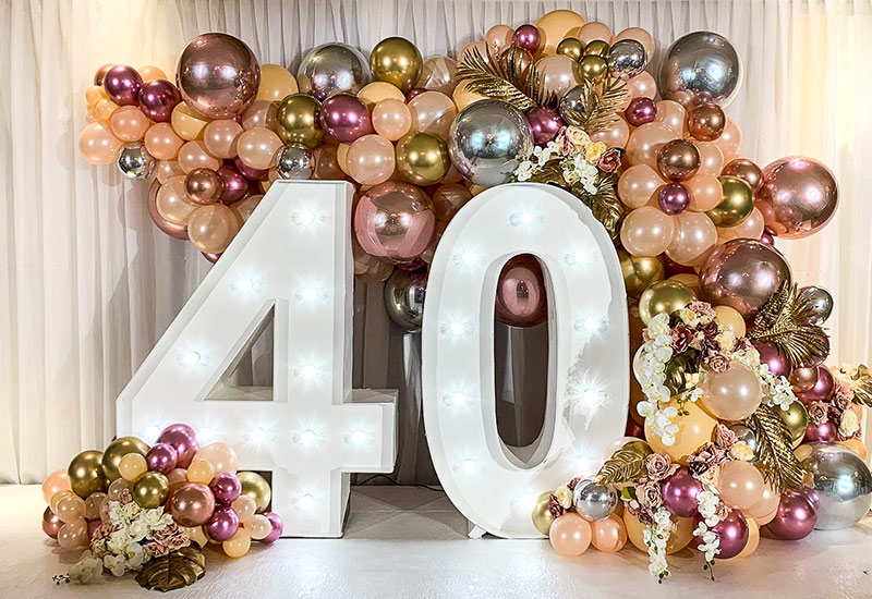 Light Up 40 with balloons
