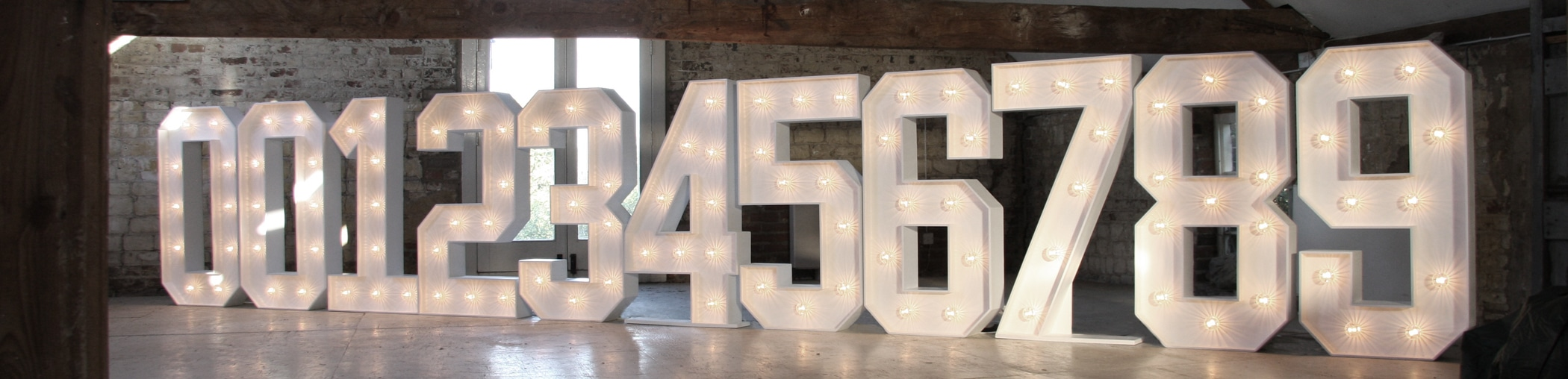 4ft White Light Up Numbers