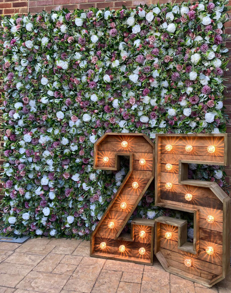 Pink and Green Flower Wall