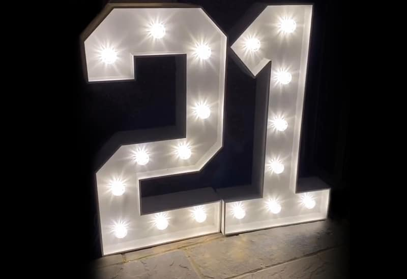 4ft White Number Hire Hertfordshire