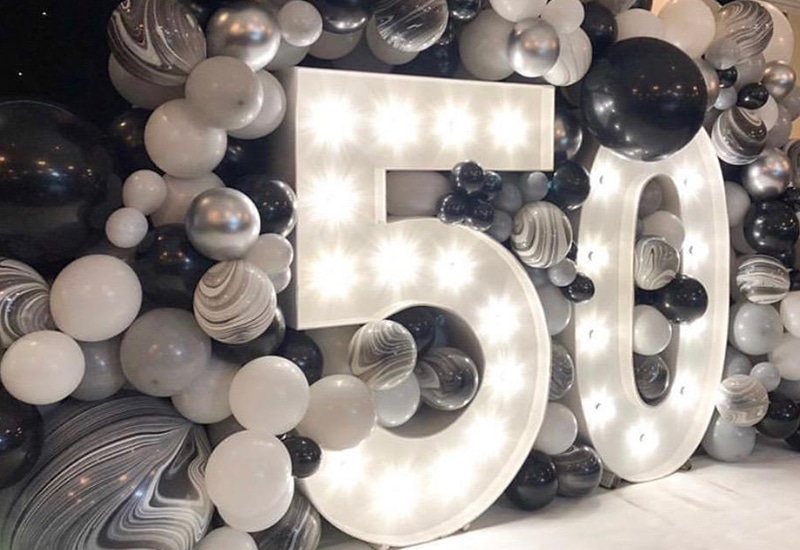 Balloon Wall with 50 Numbers