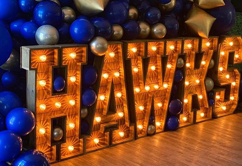 Rustic Letters with Balloons