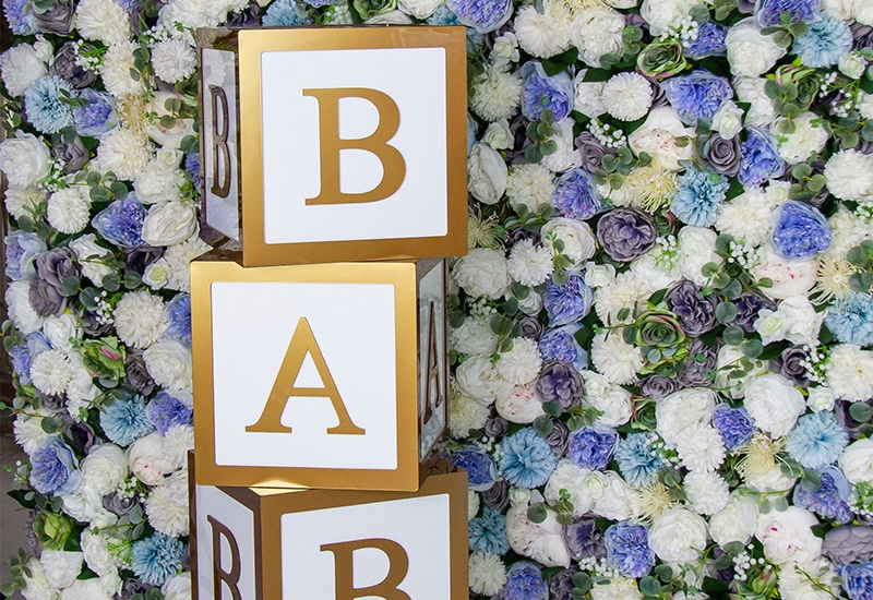 Baby Blocks and Blue Flower Wall