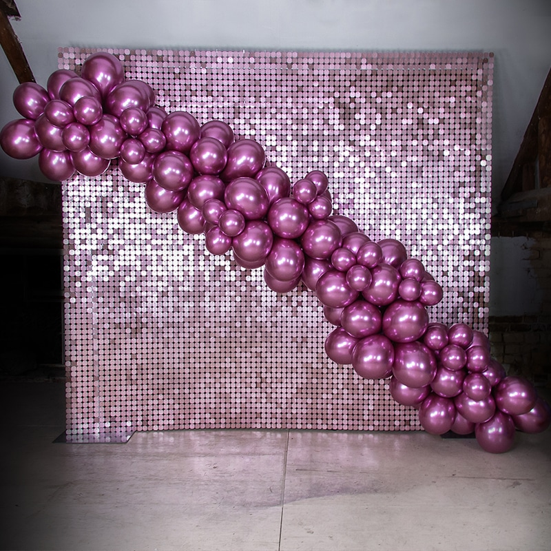 Blush Pink Sequin Wall with Balloons