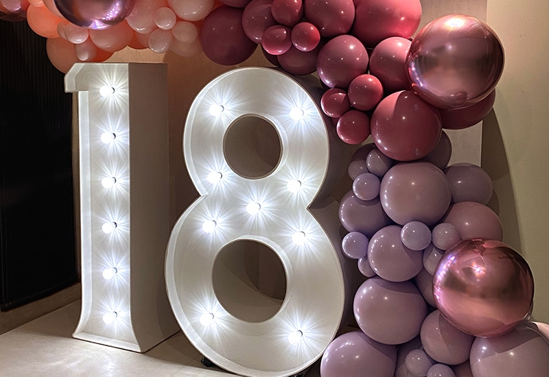 Giant 18 numbers with pink balloons