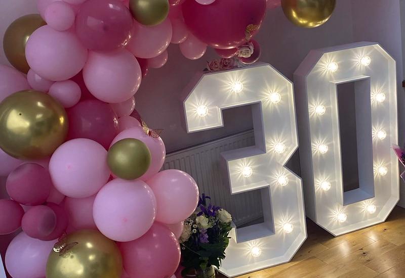 30th Birthday Numbers Hire Hertfordshire