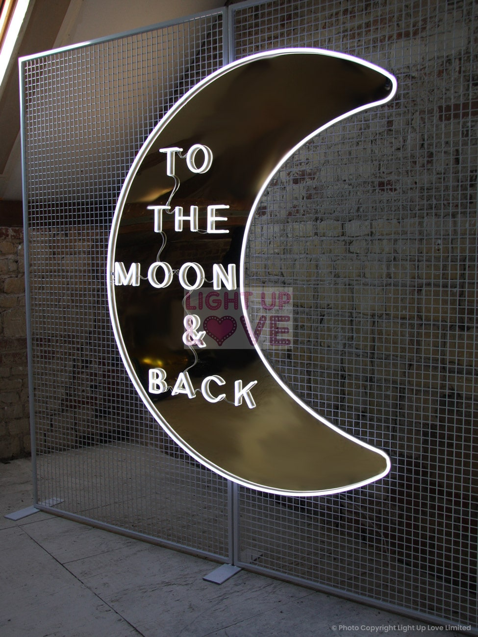 To the Moon and Back Neon Sign Hire Hertfordshire