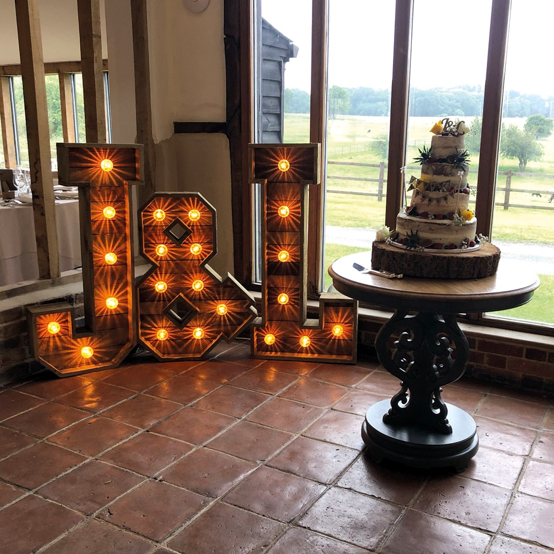 Rustic Light Up Initials at Coltsfoot Country Retreat