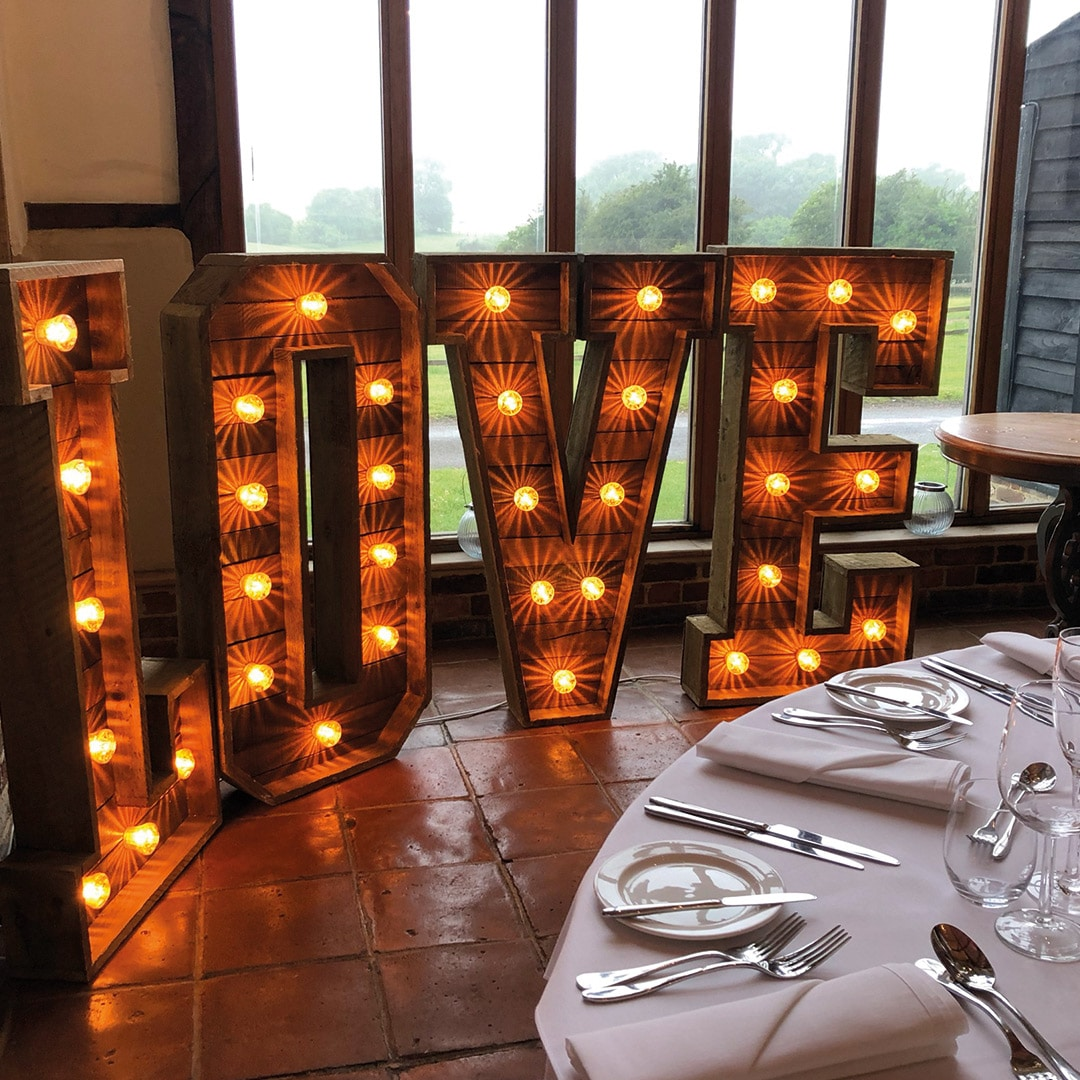 Rustic LOVE letters at Coltsfoot