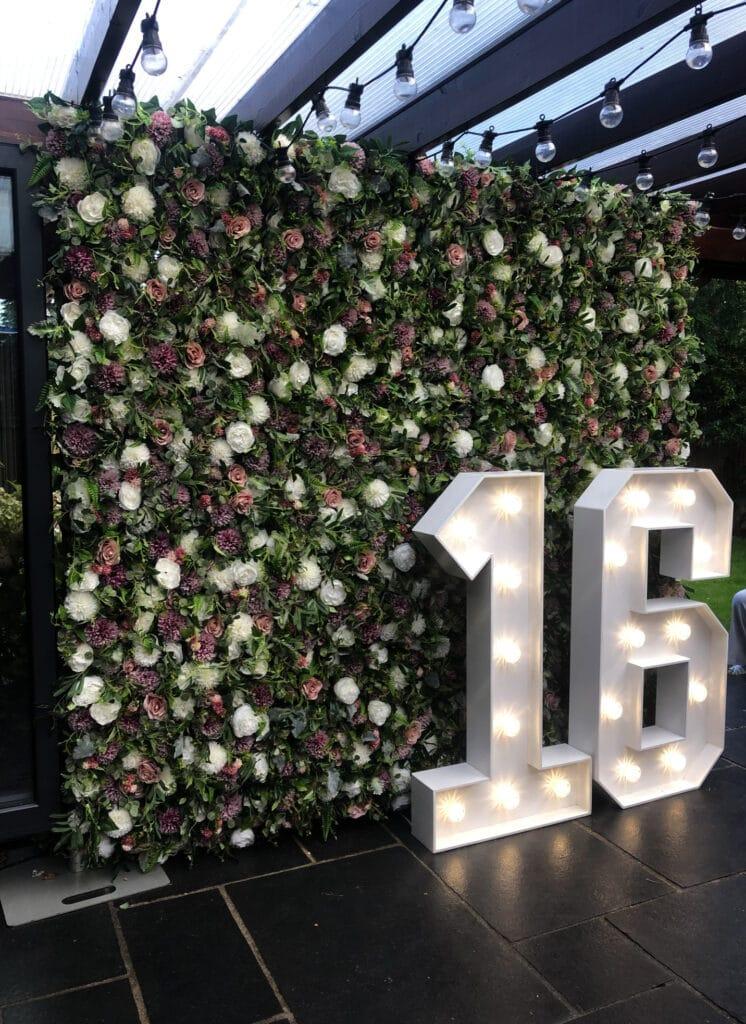 Flower Wall 16th Birthday