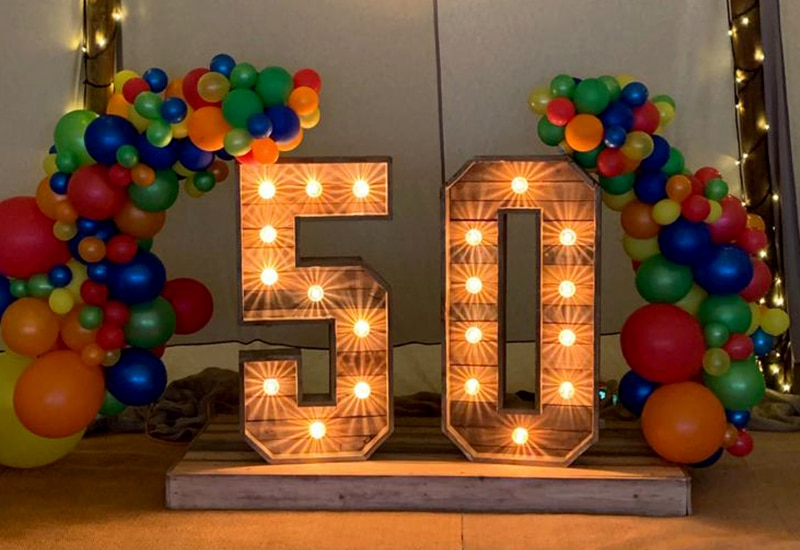 Rustic Light Up 50 Numbers