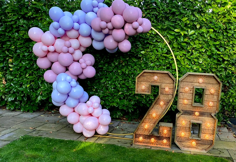 Rustic Light Up Numbers with Balloons