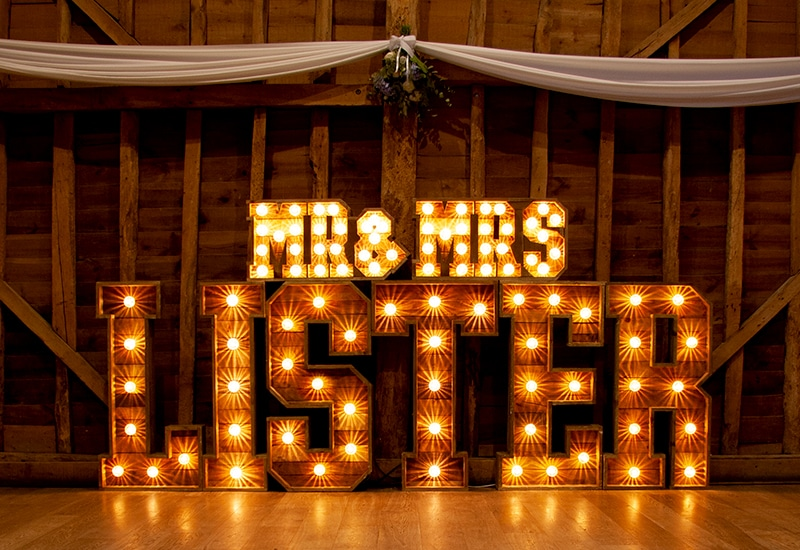 Light Up Surname Letters at Tewin Bury Farm
